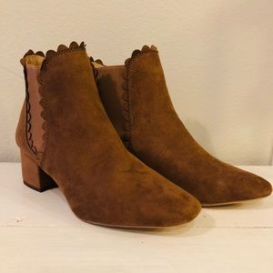 Scalloped brown suede boots